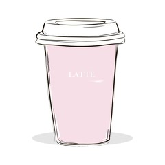 Fashion Hand drawn pink cup of coffee with lettering Latte. A dice-box with a latte on a white background