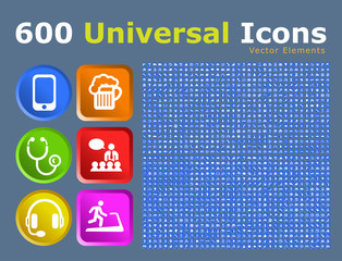 Set of 600 Universal Icons on Buttons . Isolated Vector Elements