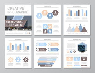Set of colored elements for multipurpose a4 presentation template slides with graphs and charts. Leaflet, corporate report, marketing, advertising, annual report, book cover design.