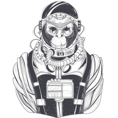 Vector hand drawn illustration of a monkey astronaut, chimpanzee in a space suit in the style of engraving. Print for T-shirts, template, sketch tattoo, design element