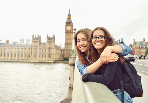 Two teenage girls on Big Ben background