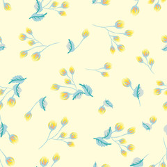 Seamless pattern in small cute flowers of antique roses and branches. Chabby chic millefleurs. Floral background for textile, wallpaper, pattern fills, covers, surface, print, gift wrap, scrapbooking,