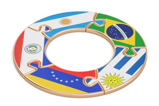 Mercosur concept, 3D rendering