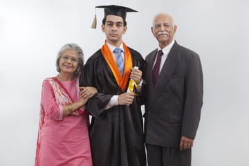 Grandparents at grandson's graduation ceremony