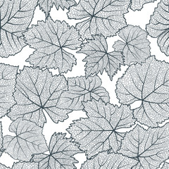 Vector seamless pattern with hand drawn grape textured leaves. Black and white autumn nature background. Design for wine list, winery, label, package, wrapping paper or textile print.