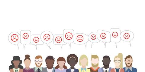 Leute mit Sprechblasen - Smiley traurig