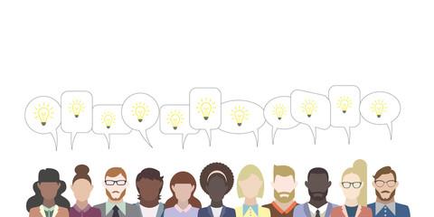 Leute mit Sprechblasen - Glühbirne Idee