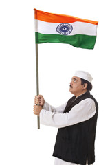 Politician holding Indian flag