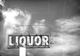 black and white photo of aged neon liquor sign