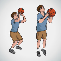 Cartoon vector illustration of basketball boy poses