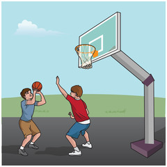 Cartoon vector illustration of a basketball game boys