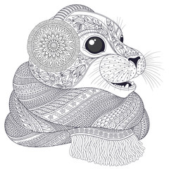 Hand drawn seal l in a scarf