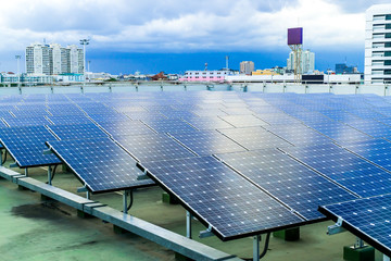 Solar Power cells panels for clean energy. Solar   panels on the roof . Solar farm is future energy.