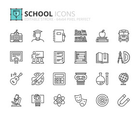 Outline icons about school