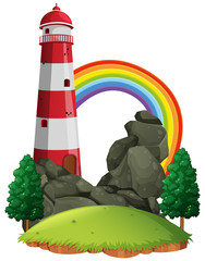 Scene with lighthouse and rainbow