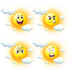 Sun with different facial expressions