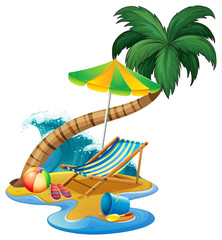 Beach scene with seat and umbrella