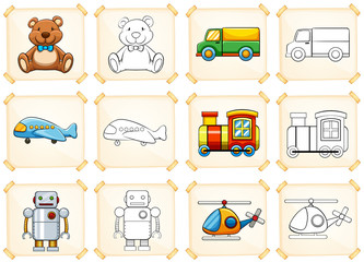 Coloring template for different toys