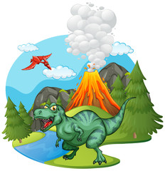 T-Rex roaring by the volcano