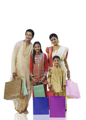 Bengali family with shopping bags