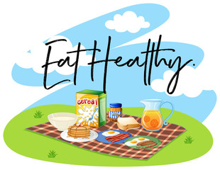 Breakfast set and word eat healthy