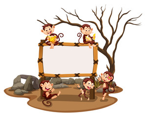 Frame template with monkeys in the field