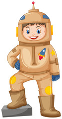 Happy boy in brown spacesuit