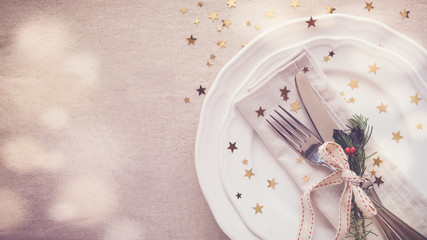 Christmas food dinner table place setting, holidays copy space background