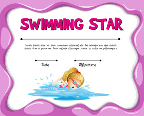 Swimming star certificate template with girl swimming