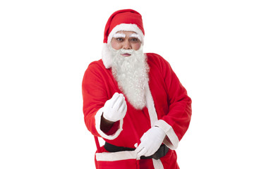Portrait of Santa Claus gesturing over white background