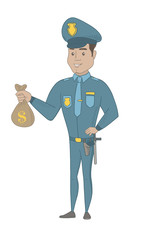 Hispanic policeman showing money bag with dollar sign. Full length of young policeman with money bag. Policeman holding money bag. Vector sketch cartoon illustration isolated on white background.
