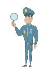 Hispanic policeman holding a hand mirror. Full length of young policeman showing a hand mirror. Happy policeman with a hand mirror. Vector sketch cartoon illustration isolated on white background.