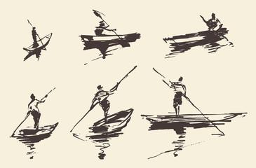 Man boat, hand drawn vector illustration, sketch