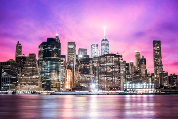 Saturated New York City Skyline at Night