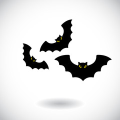 A group of bats flying . Vector illustration