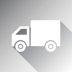 Shipping delivery truck flat icon for apps and websites. Vector illustration