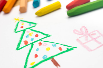 child drawing,  christmas tree , selective focus