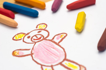 child drawing, teddy bear , selective focus