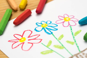child drawing, flowers , selective focus