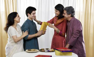 Family celebrating Rakhi