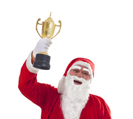 Close up portrait of happy Santa Claus holding trophy over white background