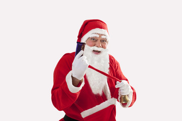 Portrait of cheerful Santa Claus showing chocolate over white background