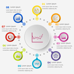Infographic template with graph icons