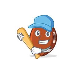 Playing baseball American football character cartoon
