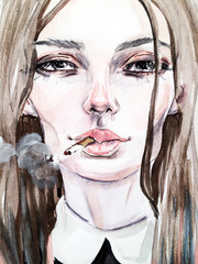 Fashionable illustration. sketch. Girl with a cigarette