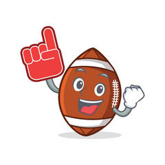 American football character cartoon with foam finger
