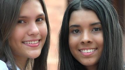 Pretty Female Teens Smiling Diversity