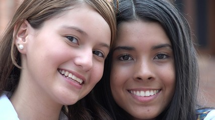 Smiling And Happy Faces Of Female Teens