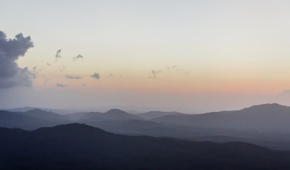 sunrise and layer of mountain