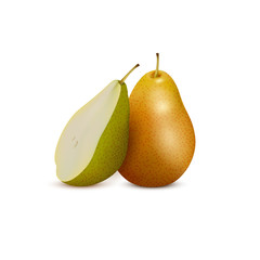 Fresh pear and slice,3d vector icon